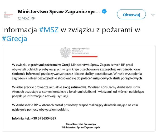 Komunikat MSZ w sprawie pożaru w Grecji