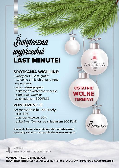 Oferta last minute na spotkania świąteczne w grudniu w Hotelu IBB Andersia Hotel