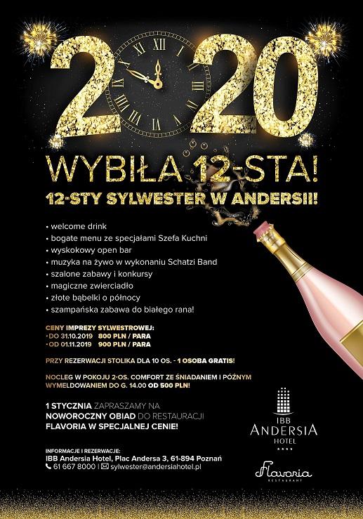 """Wyjątkowy Sylwester  """"Wybiła 12-sta!"""" w Hotelu IBB Andersia"""