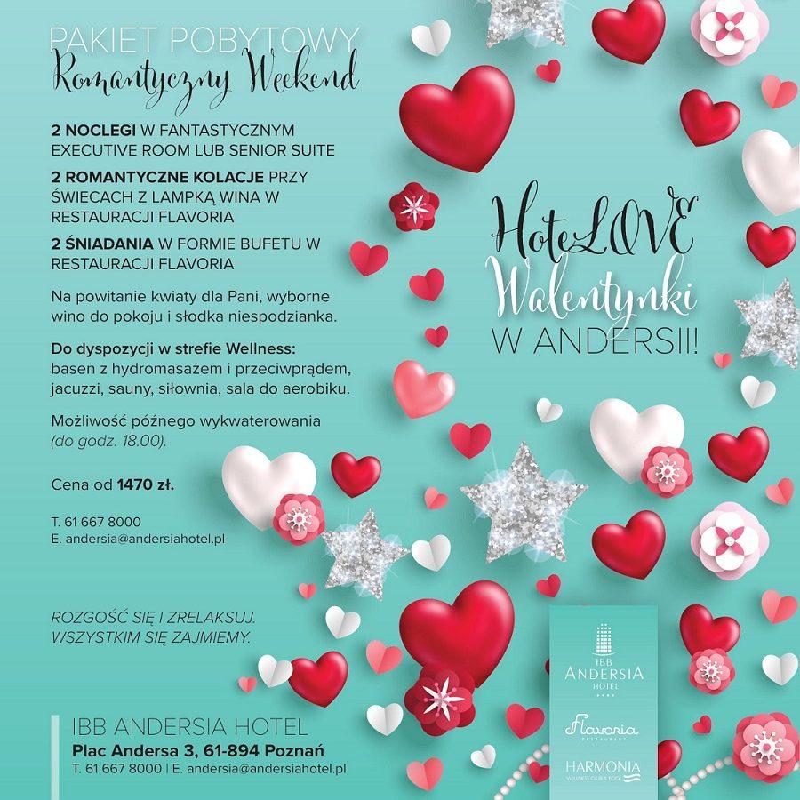Już dziś zaplanuj i spędź romantyczny walentynkowy weekend  w Hotelu IBB Andersia.