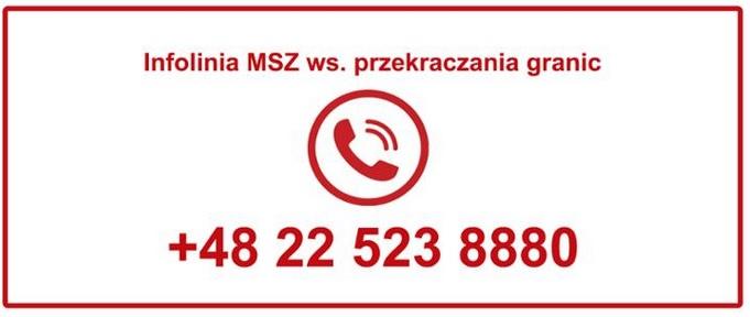 Infolinia MSZ ws. przekraczania granic