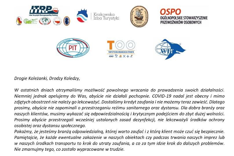 Wspólny apel organizacji branżowy turystycznych i transportowych na temat zachowania zakładanych reżimów sanitarnych dla poszczególnych działalności gospodarczej.