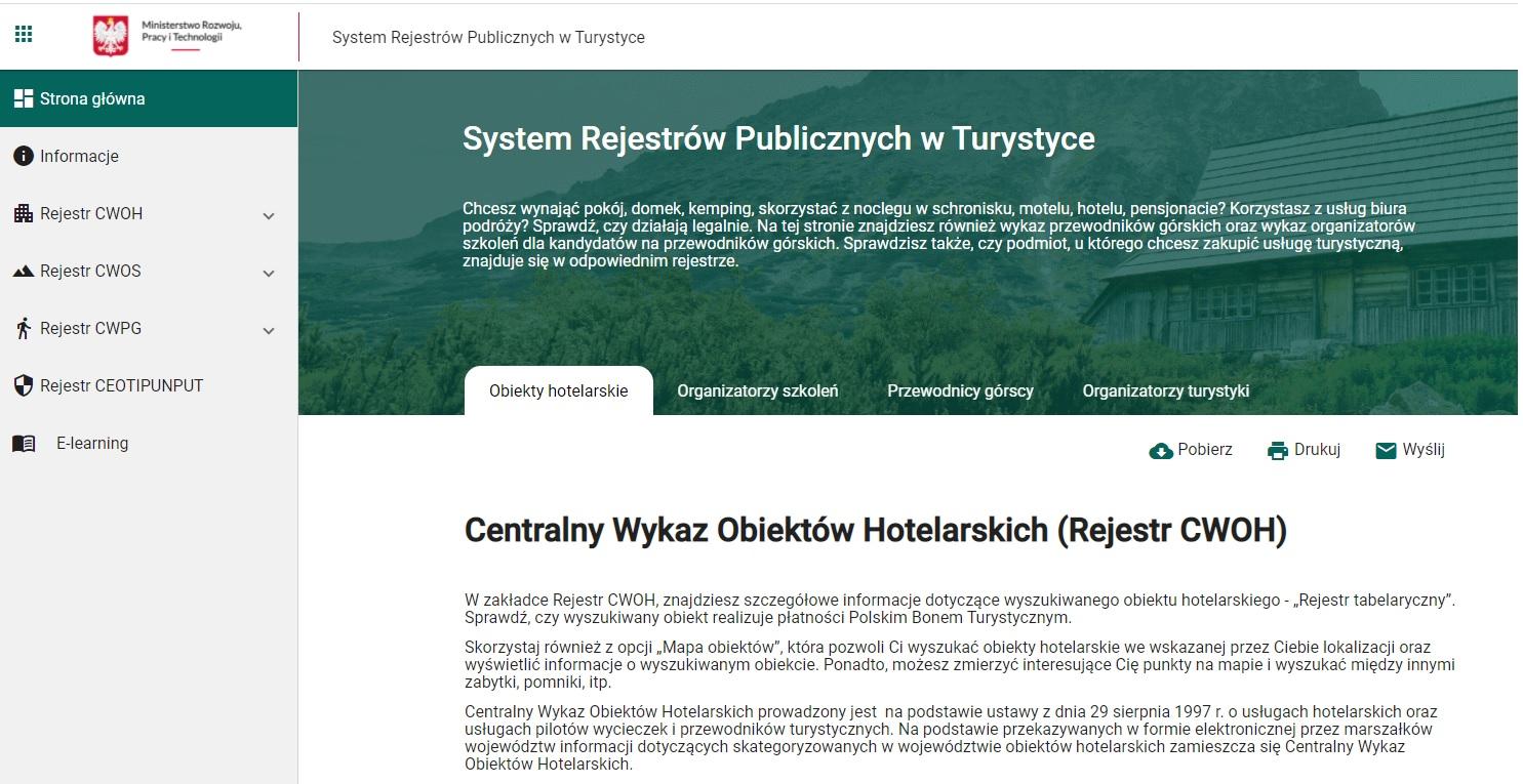 System Rejestrów Publicznych w Turystyce – www.turystyka.gov.pl